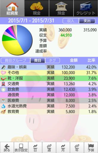収支の円グラフ