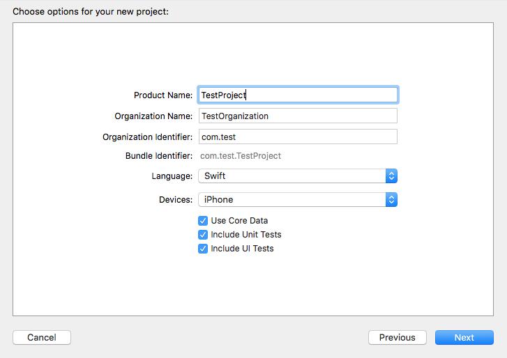 プロジェクトのオプション選択画面