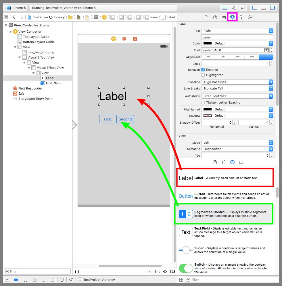 LabelとSegmented Controlをデバイス画面に配置する