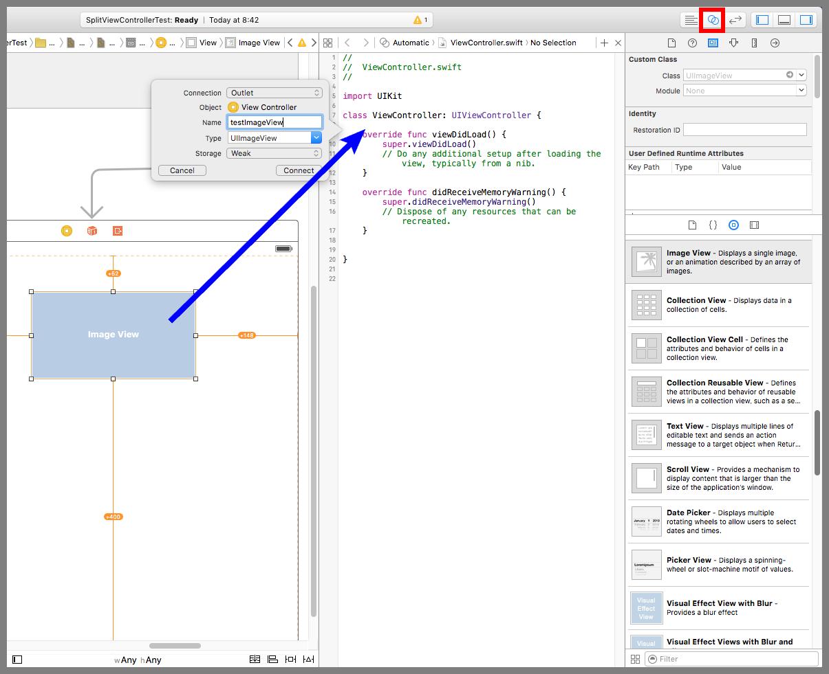 Image Viewとソースコードのコネクションを確立する
