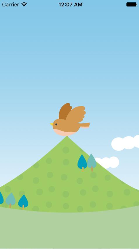 背景と鳥の画像が画面中央に表示された