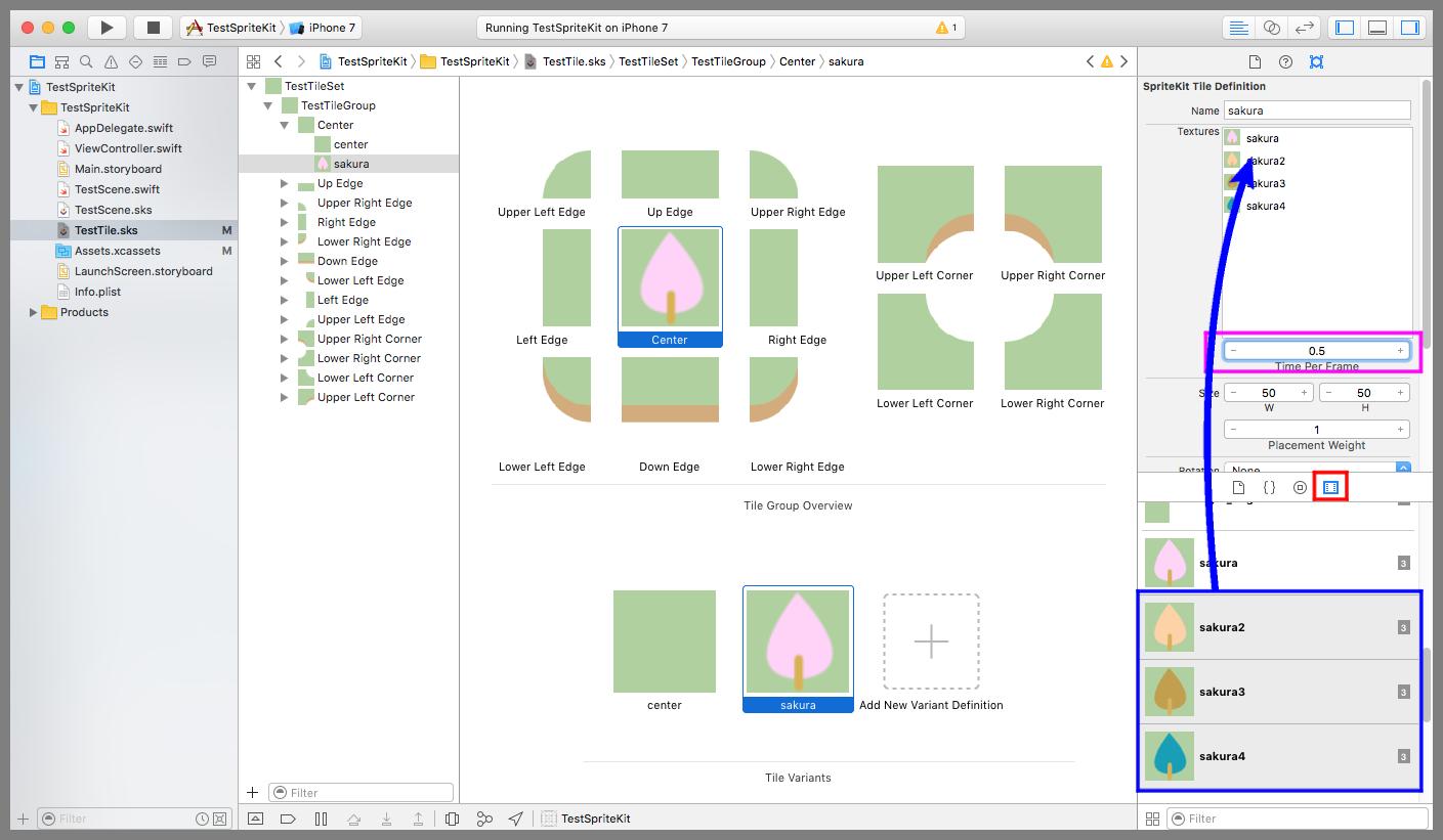SKTileDefinitionのTexturesに画像を追加する。