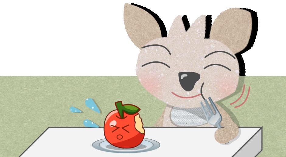 ピットがリンゴを食べる