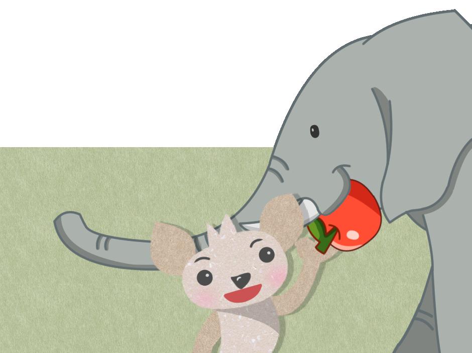 象にリンゴをあげる
