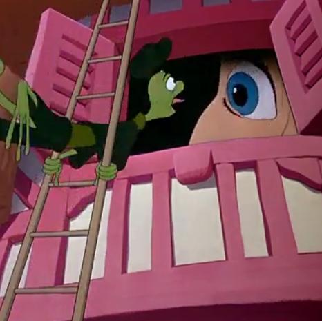 アニメで英語「アリスとトカゲが顔を合わせる」