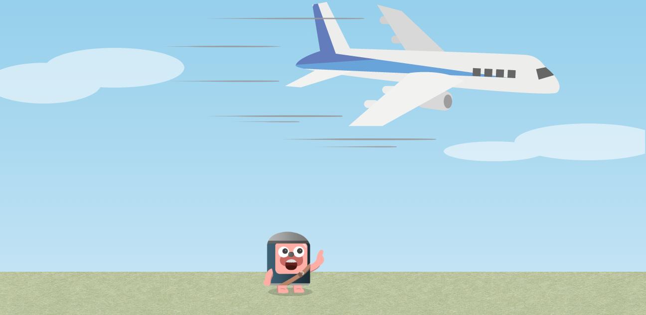 頭上を飛行機が通り過ぎていく