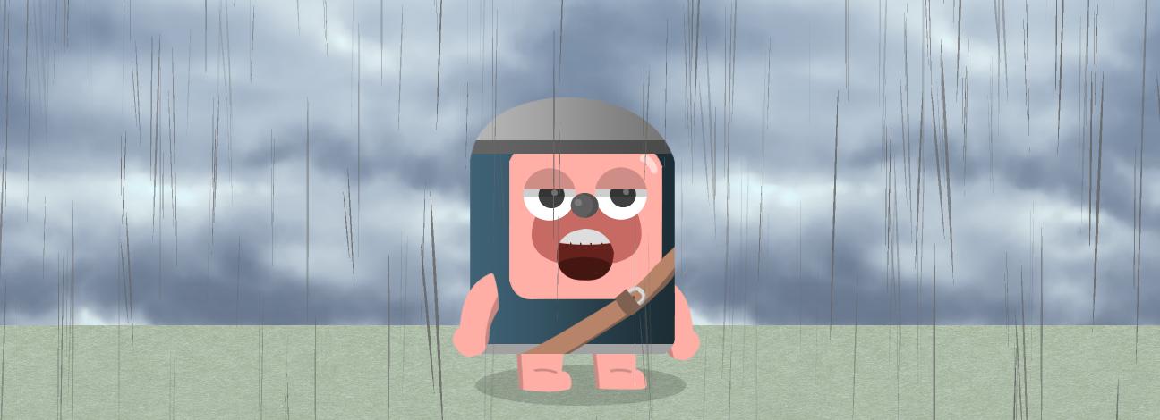 太郎が雨の中立っている